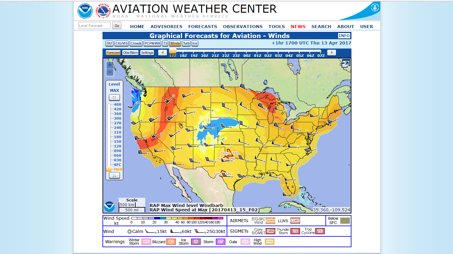 The National Weather Service has turned graphical forecasts operational. Image courtesy of NOAA.