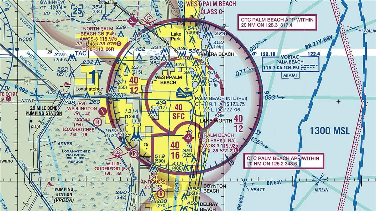 Sectional depicting Palm Beach County Park Airport, locally known as Lantana Airport. Image courtesy of Sky Vector.