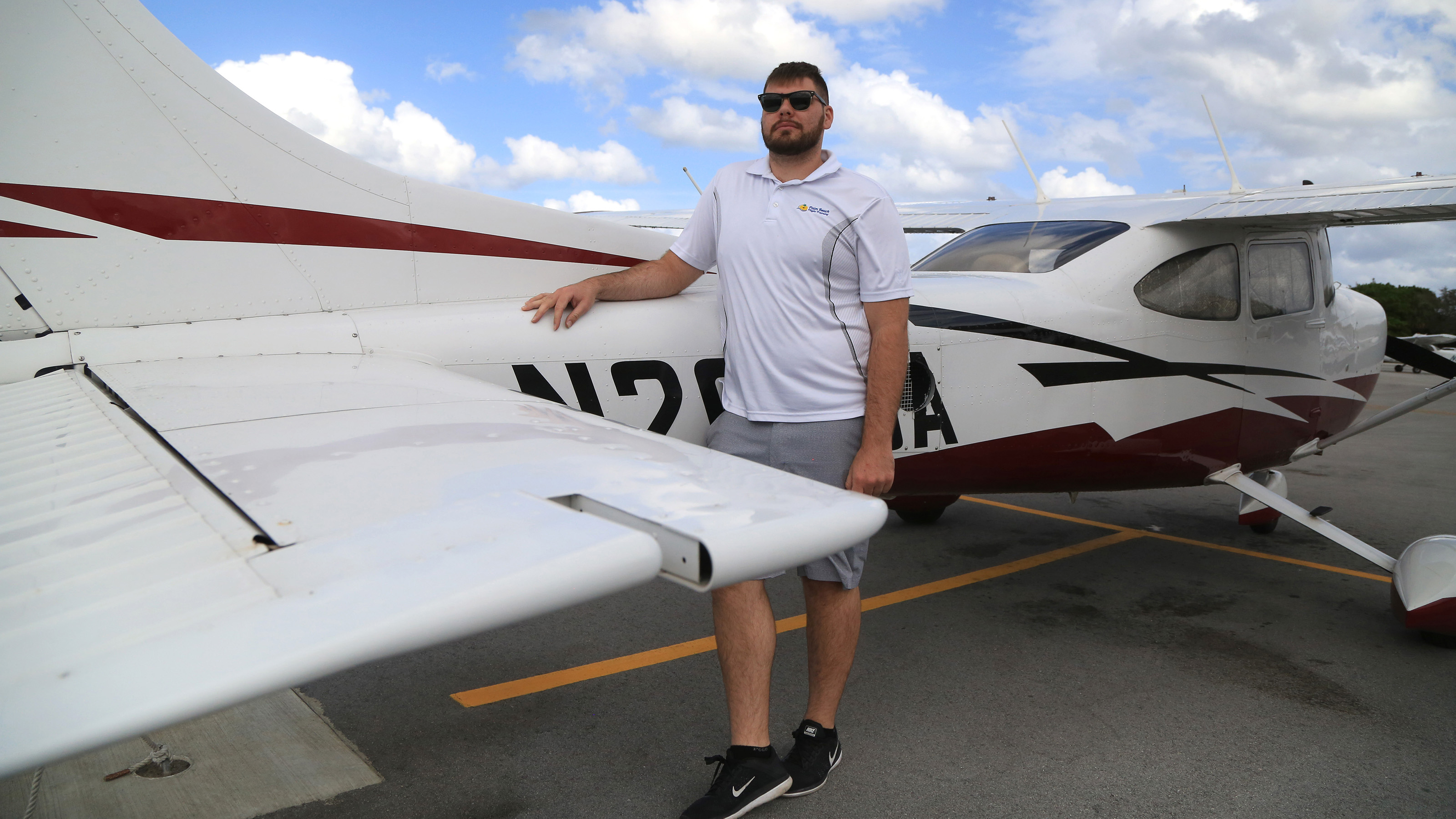 Richard Dragonette, a flight instructor at Palm Beach Flight Training school at Lantana Airport, says the school has  been impacted by the restrictions due to President Trump's Mar-a-Lago visits. Courtesy of Carline Jean, Fort Lauderdale Sun-Sentinel.