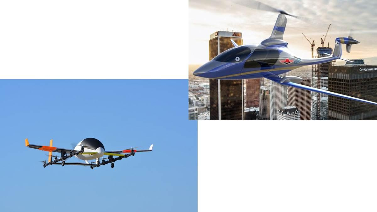 Aurora Flight Sciences unveiled an electric VTOL prototype, left, and Carter Aviation Technologies will team up with Mooney International to build a CarterCopter variant for Uber air taxi service. Images courtesy of Aurora Flight Sciences and Carter Aviation Technologies.