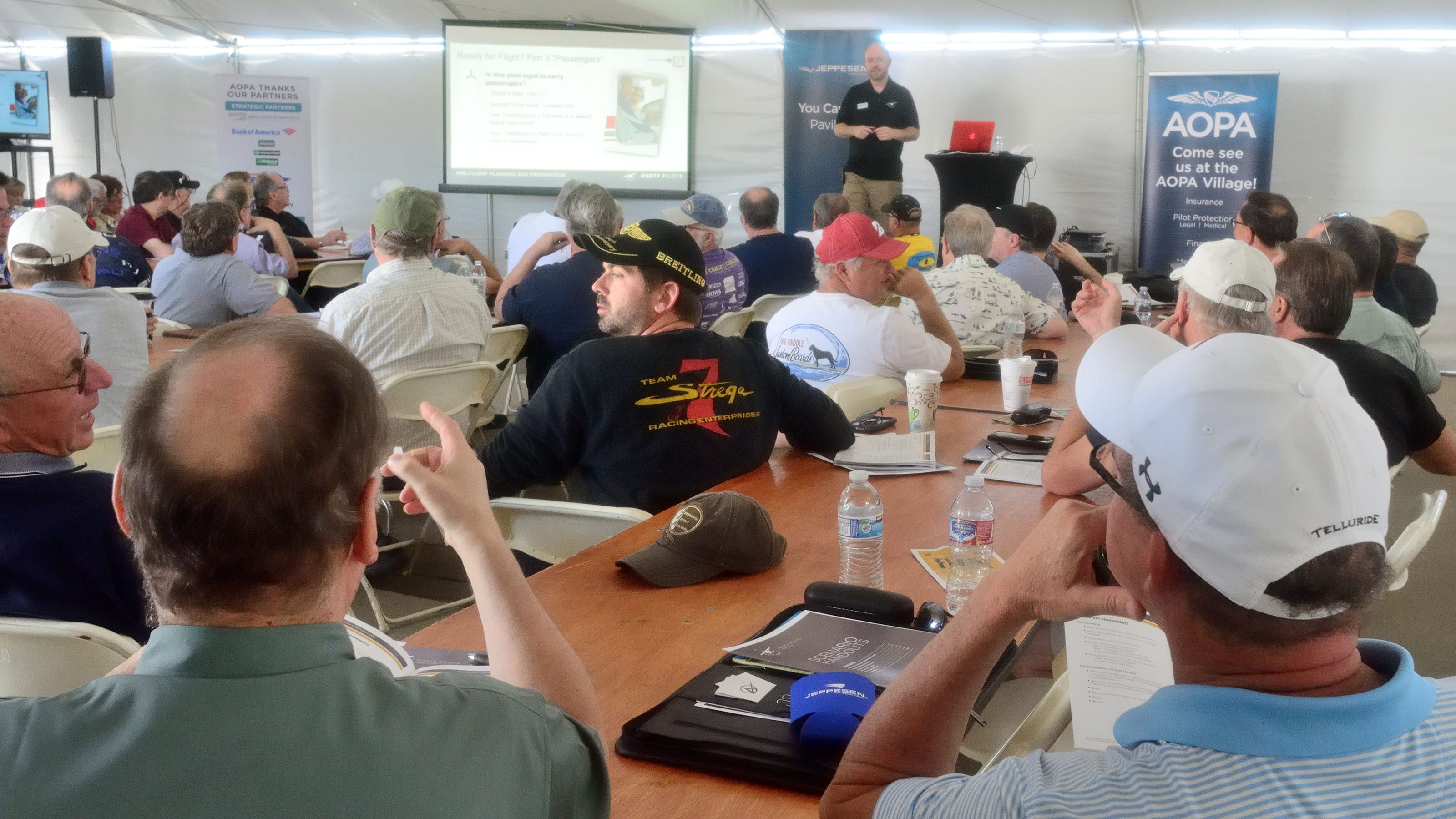 Chris Moser, with AOPA's You Can Fly initiative, leads a Rusty Pilots seminar at the AOPA Fly-In at Camarillo, California. Photo by Mike Collins.