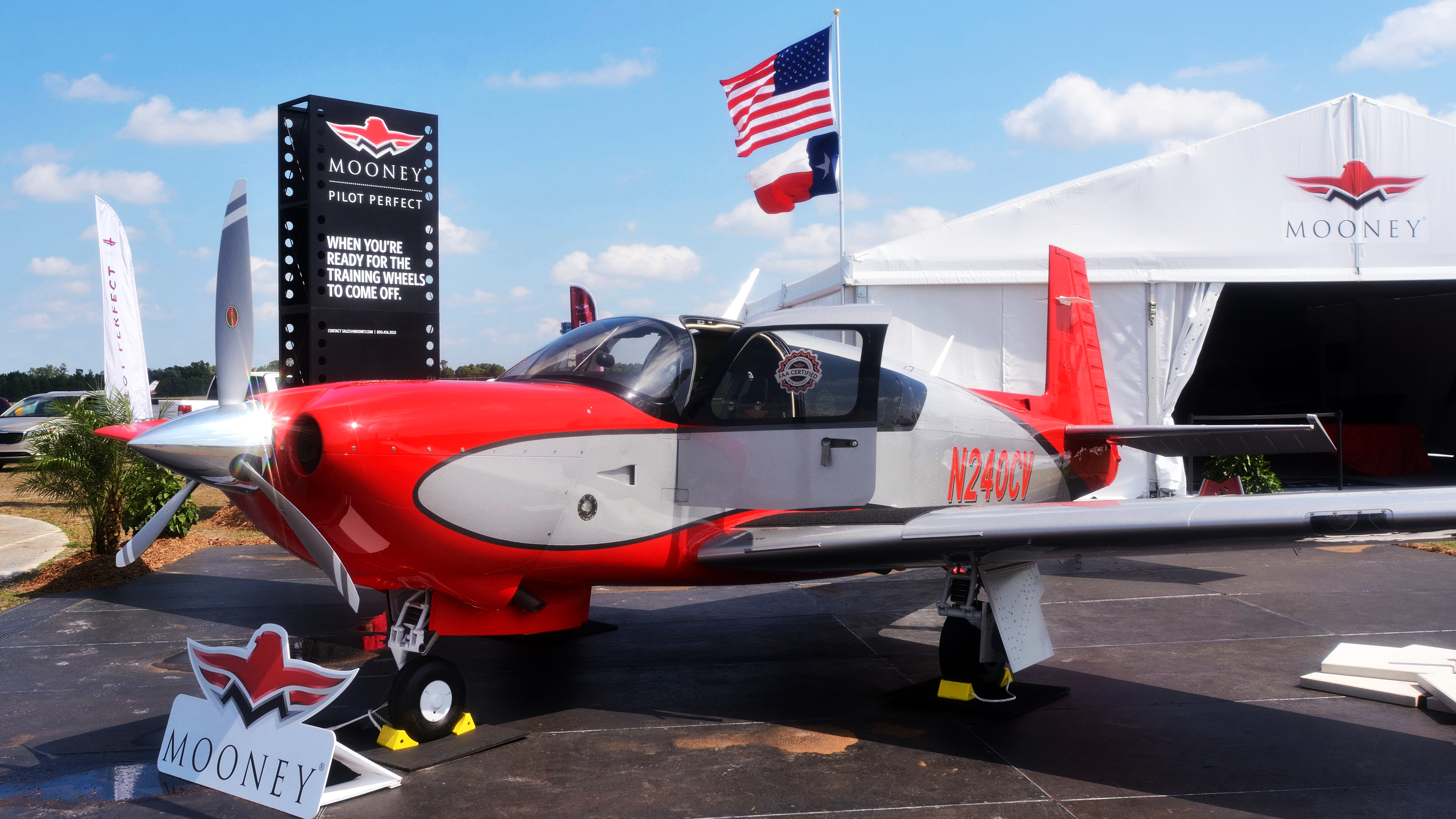 Mooney's recently certified Ultra is front and center at the manufacturer's Sun 'n Fun exhibit. Among the features added to the high-performance single is a pilot's door. Photo by Mike Collins.