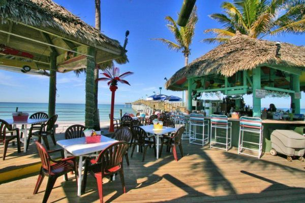 At Venice, Florida, Sharky's on the Pier is a seafood-focused eatery and tiki bar. Photo courtesy Sharky's on the Pier.