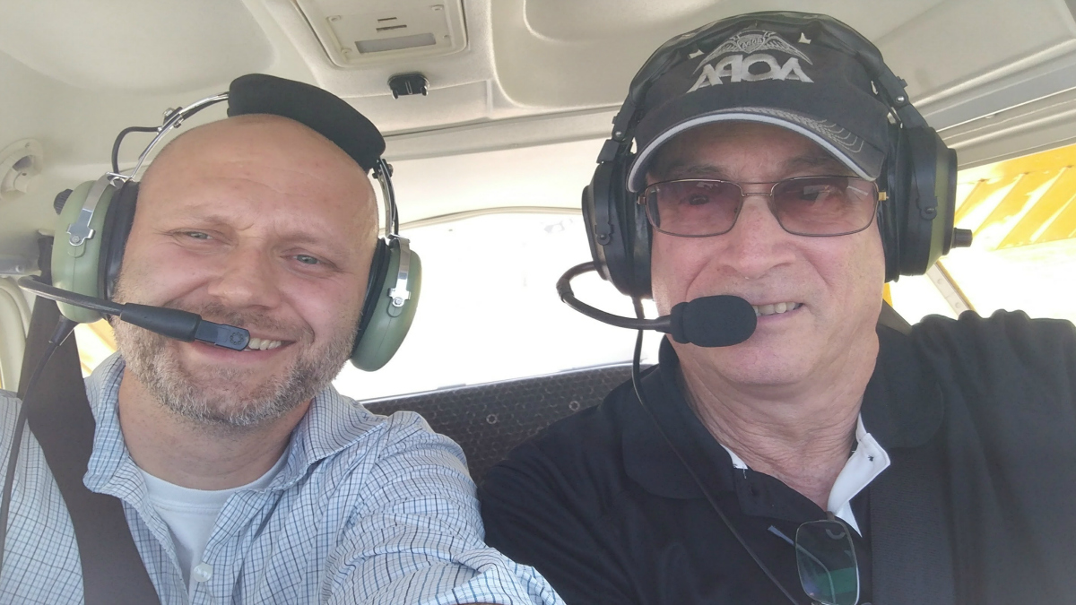 Lukas Svrcek experiences his first general aviation flight last month.
