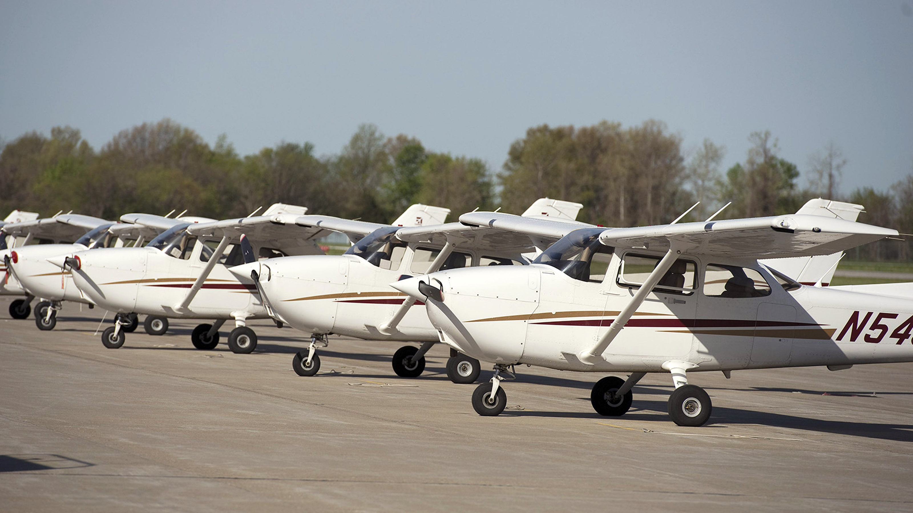 Cessna 172s in the Southern Illinois University Carbondale fleet line the university's ramp at Southern Illinois Airport in Carbondale/Murphysboro, Illinois. Alumni donations are helping to equip the university's fleet with ADS-B hardware in advance of the FAA mandate. Photo courtesy of Southern Illinois University.