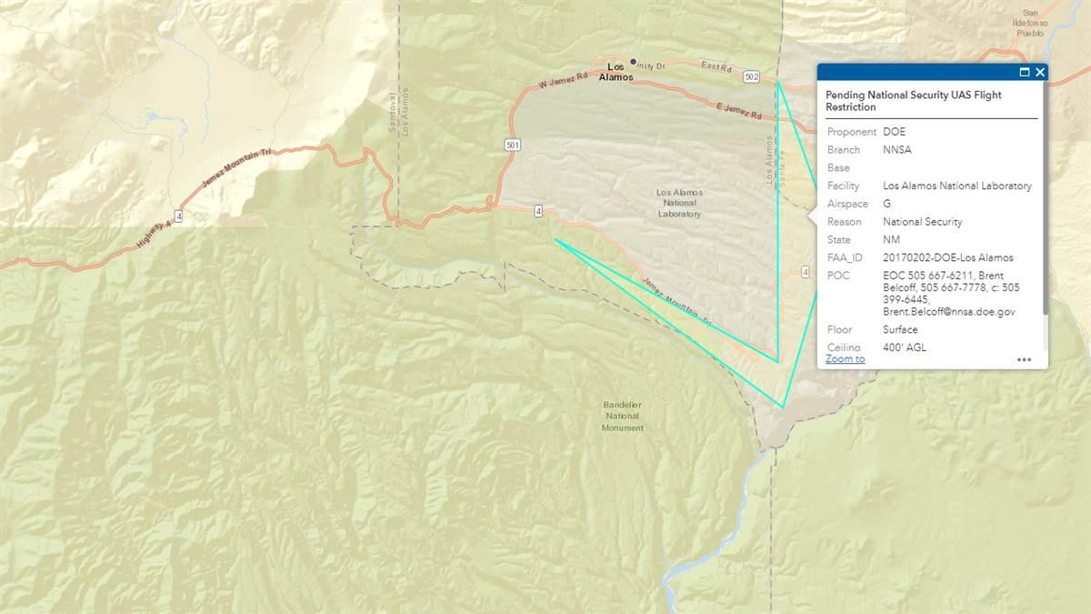 This image from the FAA interactive unmanned aircraft data map (http://uas-faa.opendata.arcgis.com/) shows the pending drone flight restriction over Los Alamos National Laboratory, among several new no-fly zones for drones that are effective Dec. 29.