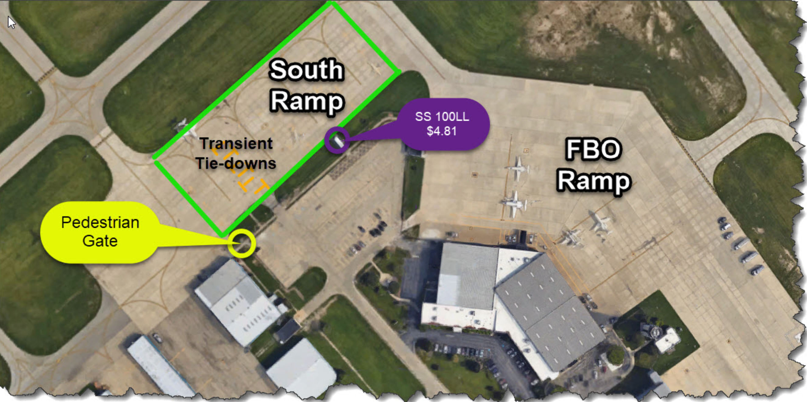 Waukegan National Airport published a map depicting free tiedowns for transients as well as the location of self-service avgas and a pedestrian entrance to the ramp. Photo courtesy of Waukegan National Airport.