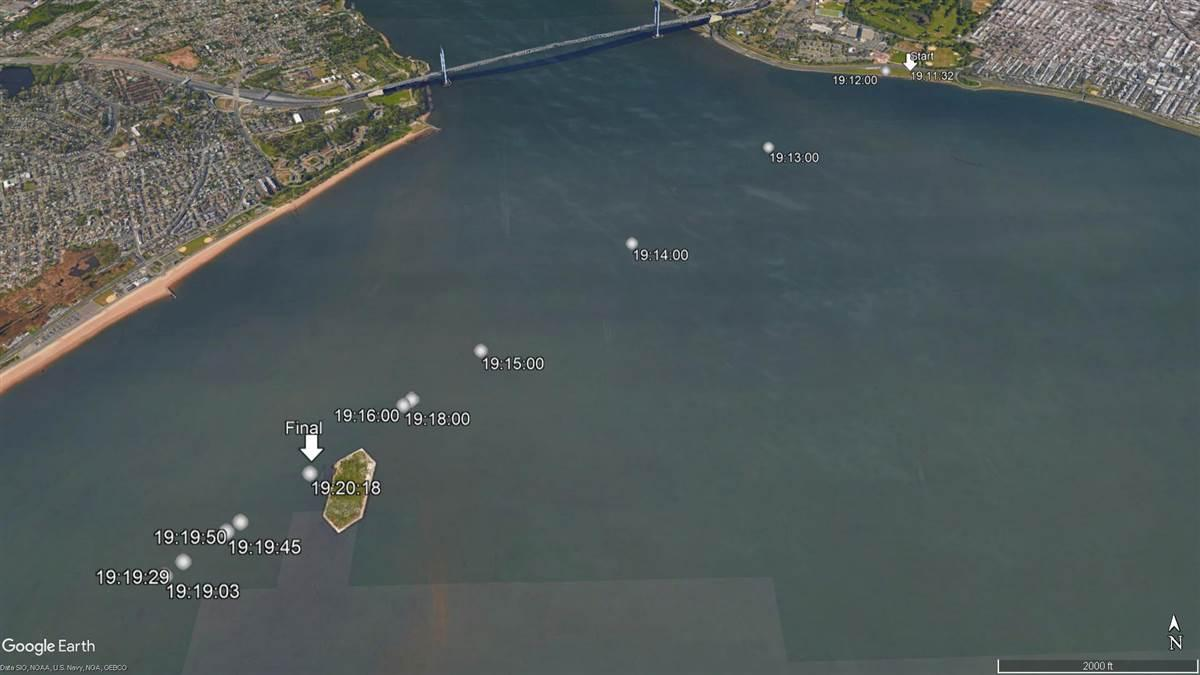 This Google Earth image includes overlays of selected GPS data points logged Sept. 21 by the DJI Phantom 4 which collided with a U.S. Army helicopter south of the Verrazano-Narrows Bridge, visible at the top of the image. The data, made public by the NTSB Dec. 13, show the Phantom reached a maximum distance from home of 2.8 miles at 7:19:03 p.m., and transmitted its final data point at 7:20:18, 2.44 miles from the home point.