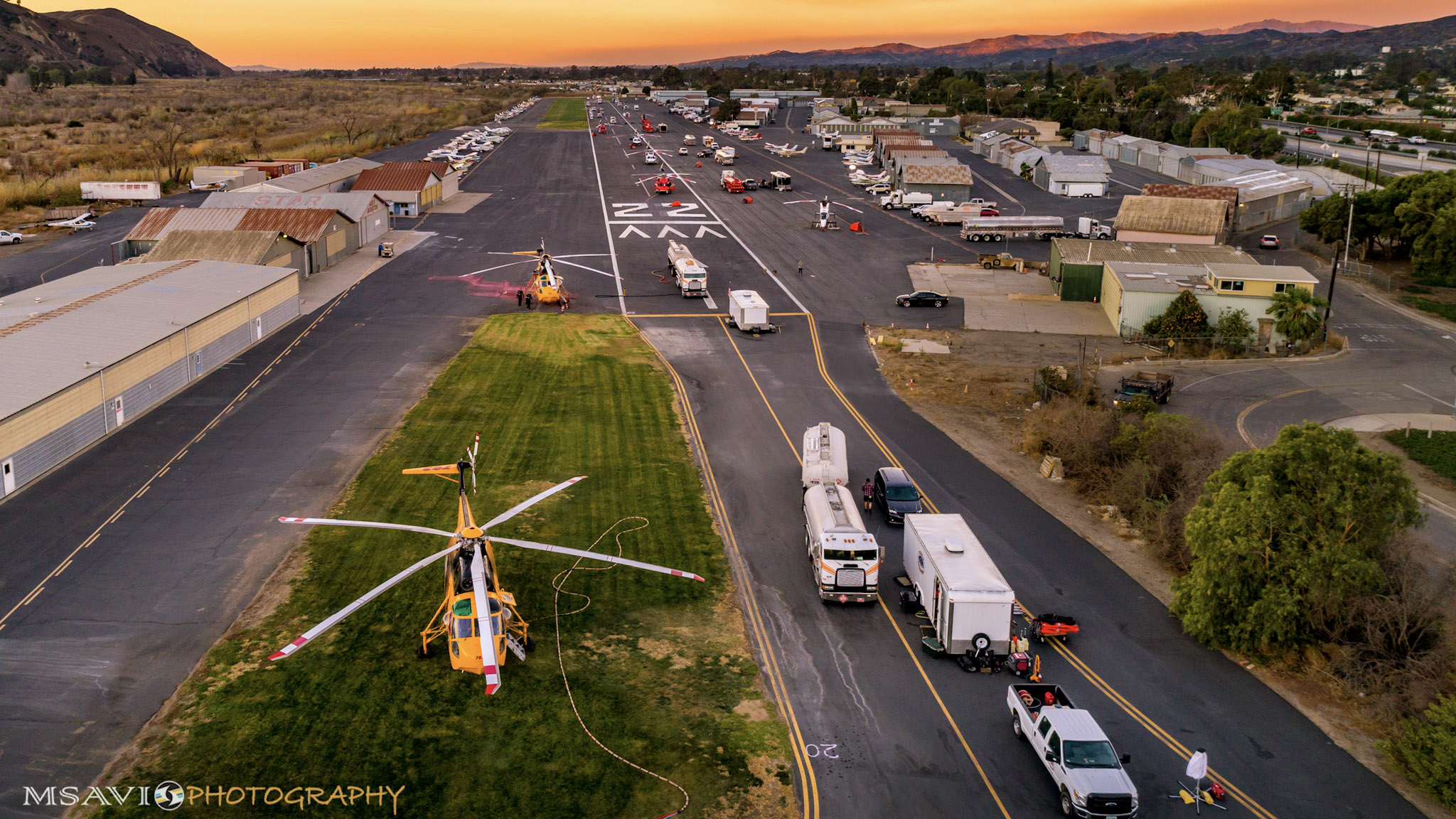 Helicopter firefighting operations based at California's Santa Paula Airport have helped save lives and property in the midst of the Thomas Fire burning nearby. Photo by Mike Salas, MSAVI Photography and Focal Flight.