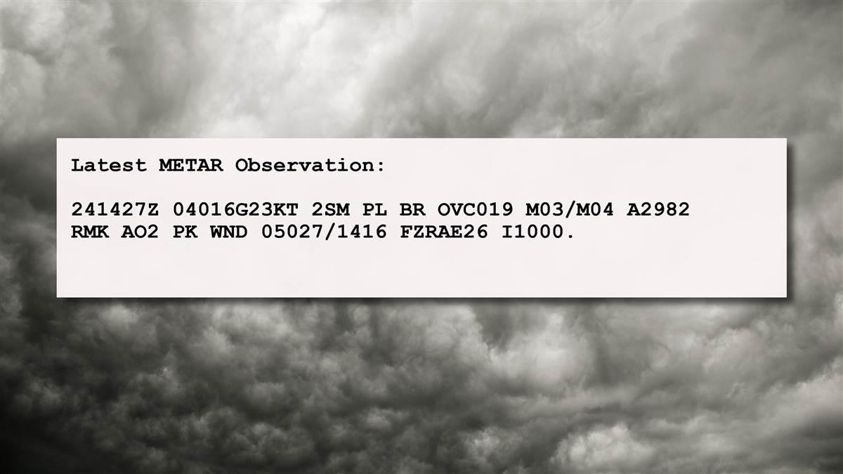 An example of a METAR detailing severe weather. Graphic by AOPA staff.