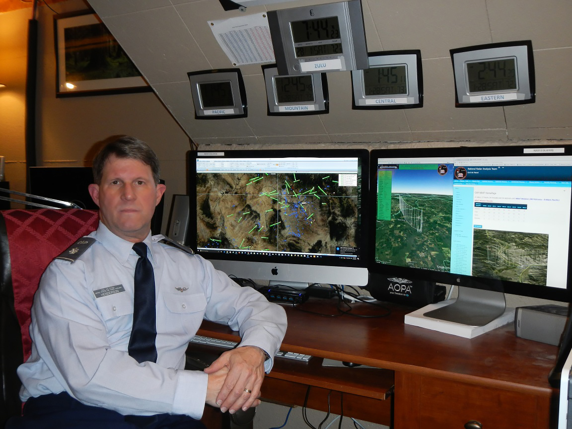 The Civil Air Patrol's Lt. Col. John Henderson developed the National Radar Analysis Team (NRAT) that analyzes radar tracking, terrain, weather, and other factors to quickly map likely search and rescue targets. Photo courtesy of John Henderson.