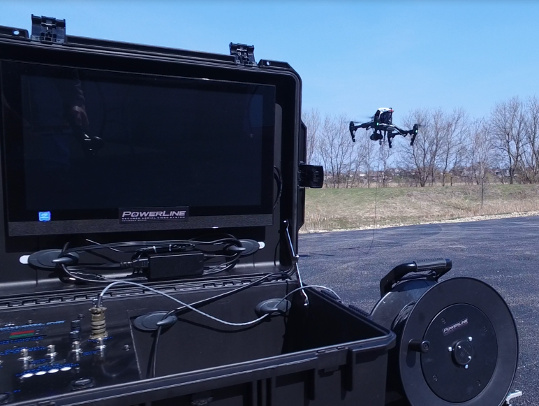 The PowerLine Tethered System connects to a DJI Inspire, giving it theoretically unlimited flight time. Photo courtesy of NTP, Inc.