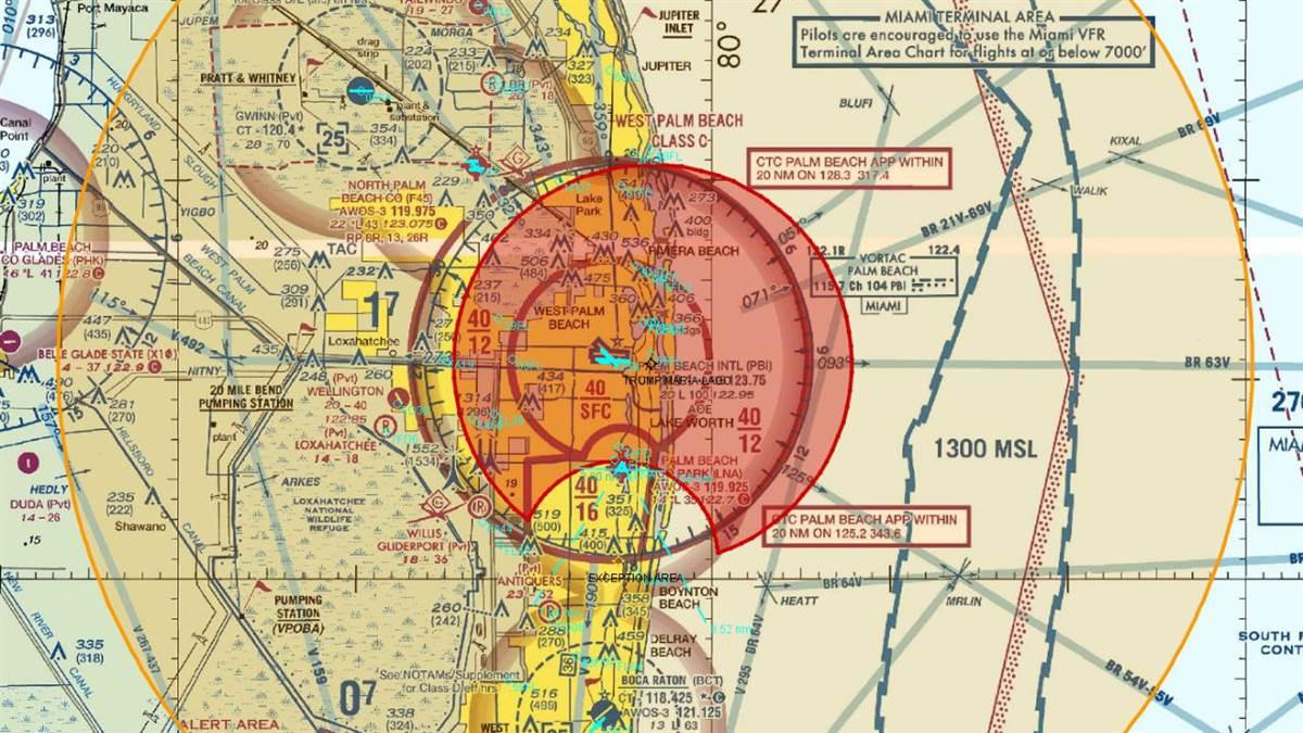 Depiction of TFR inner and outer ring with proposed cutout for Lantana Airport.