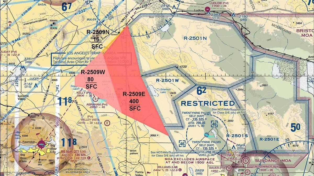 Depiction of three proposed temporary restricted areas for the Twentynine Palms, California, area.