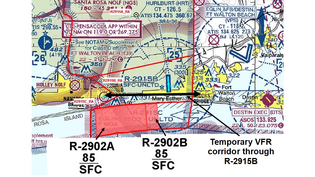 Proposed temporary restricted airspace depiction for the Valparaiso and Destin, Florida, areas.