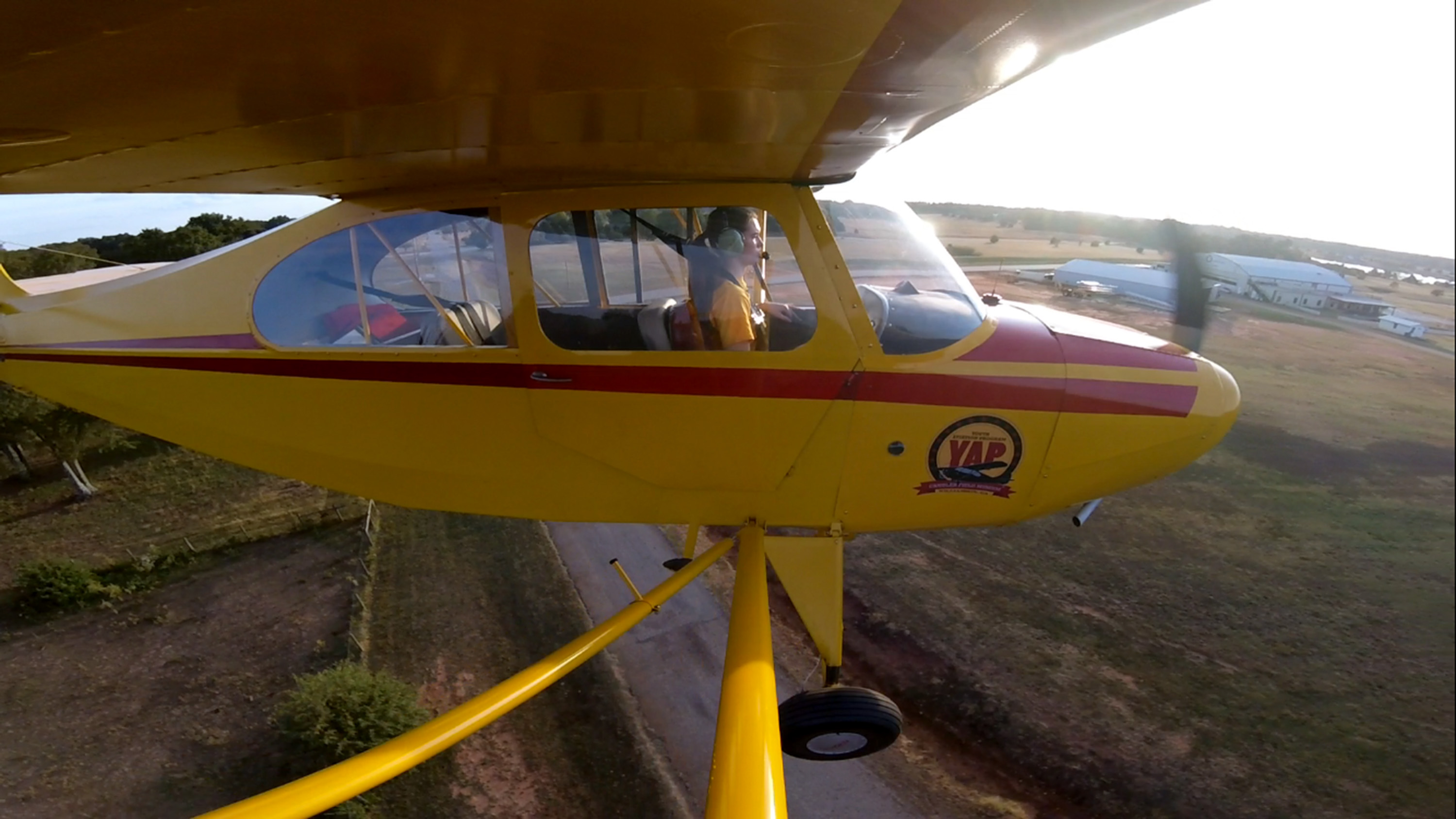 Student pilot Cayla McLeod solos in an Aeronca Champ at Peach State Aerodrome in Williamson, Georgia. Photo courtesy of Cayla McLeod.