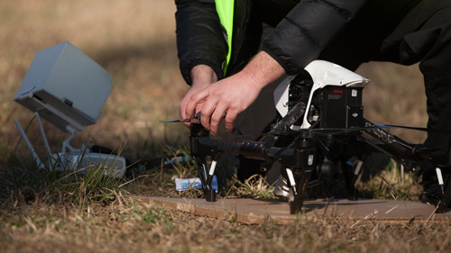A DJI Inspire is prepared for flight. AOPA photo.
