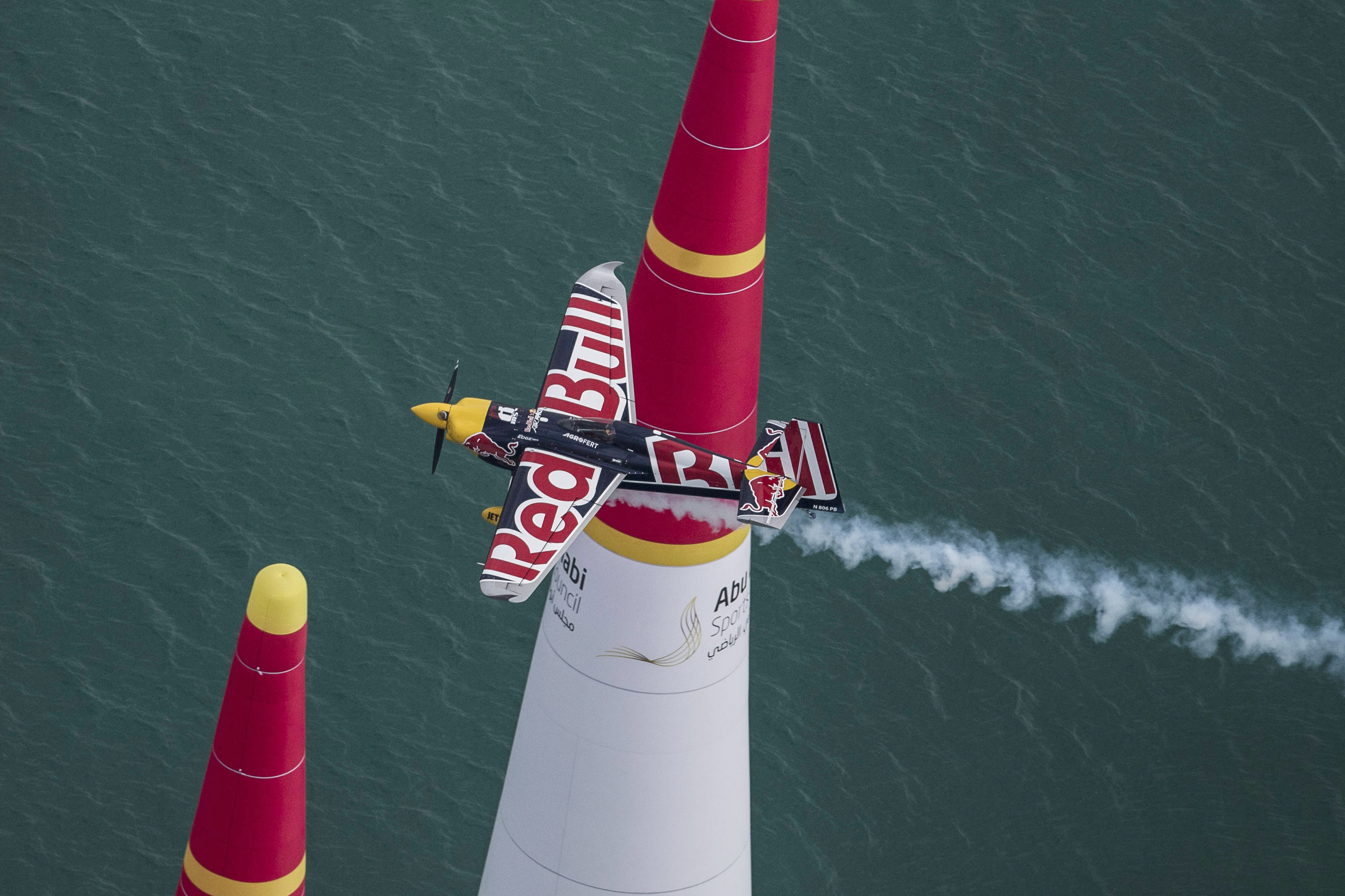 Martin Sonka of the Czech Republic won the first stage of the Red Bull Air Race World Championship in Abu Dhabi, United Arab Emirates on Feb. 11. Photo by Joerg Mitter / Red Bull Content Pool.