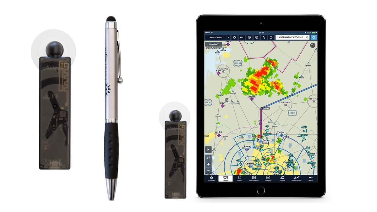 Miniature $200 'Scout' ADS-B receiver could dramatically increase the number of pilots flying with in-cockpit weather and traffic. Photo courtesy of ForeFlight.