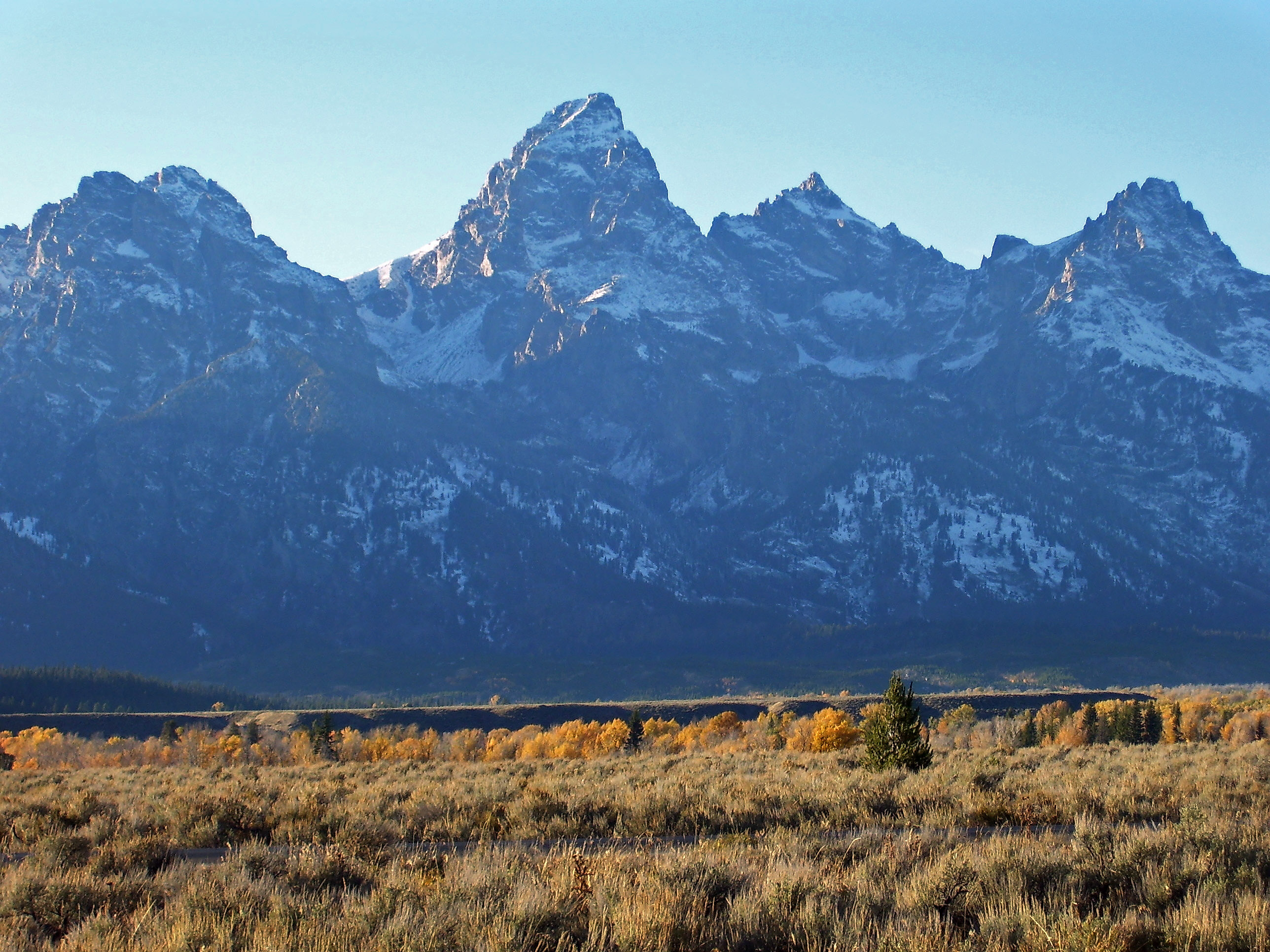 Wyoming's Teton Range can be seen from the base of Blacktail Butte in this photo courtesy of the National Park Service.