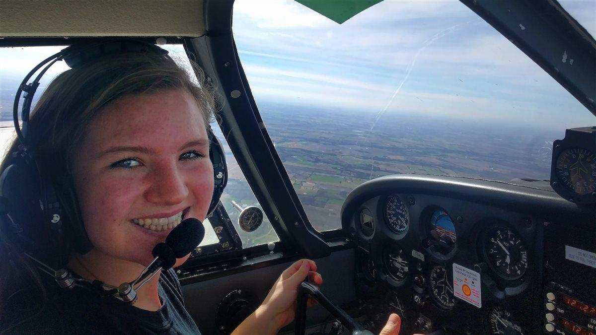 Student pilot Lauryn Spinetta experienced an engine emergency during a routine training flight in her Piper Cherokee PA-28 160. Photo courtesy of Lauryn Spinetta.