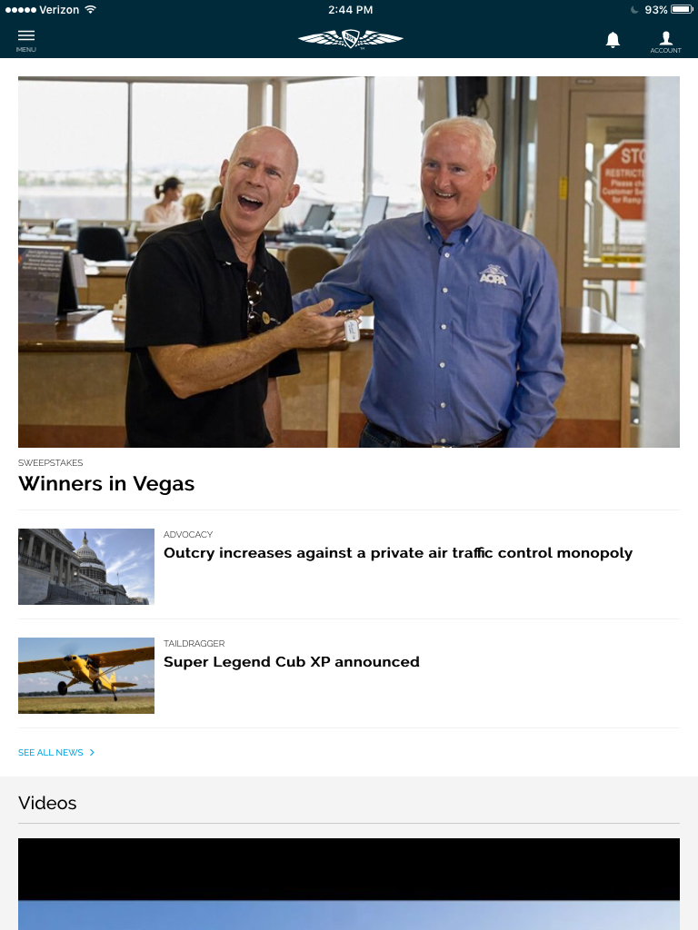 The AOPA app home page includes the latest news, a featured video, and events.