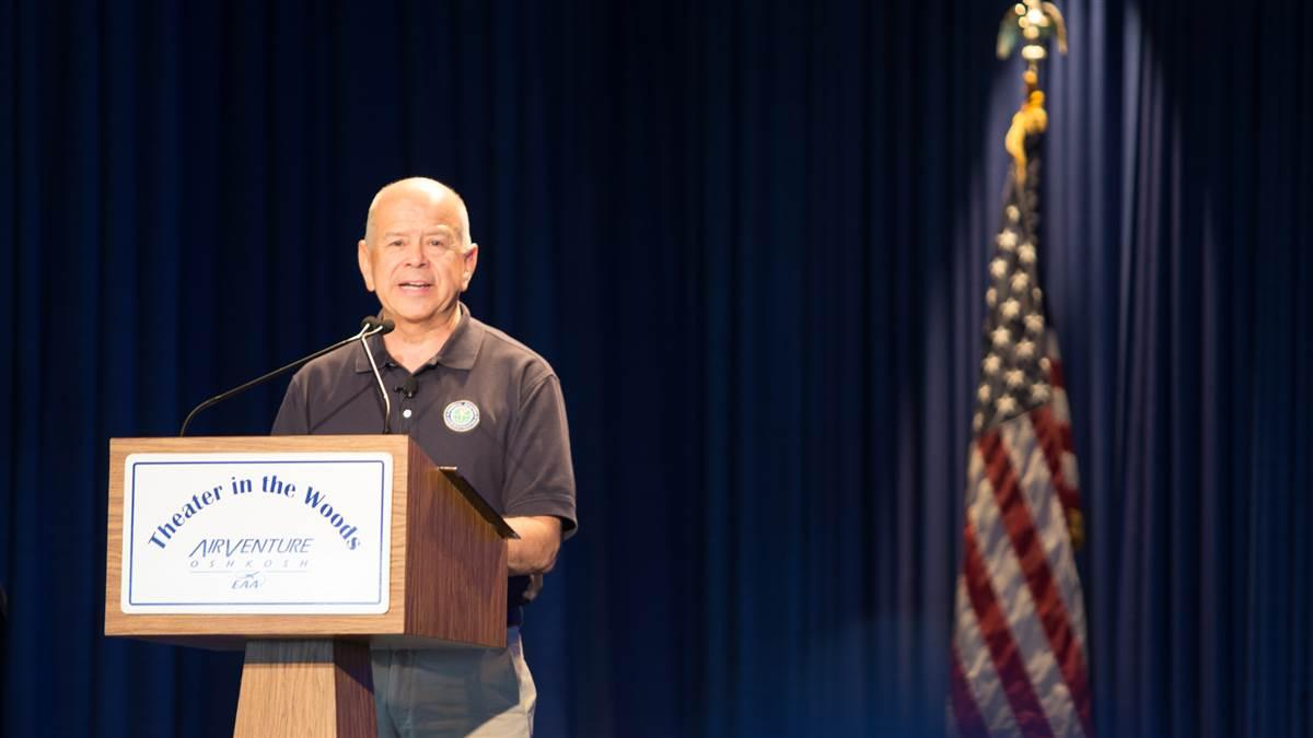 FAA Administrator Michael Huerta addresses an audience at EAA AirVenture July 27. Jim Moore photo.
