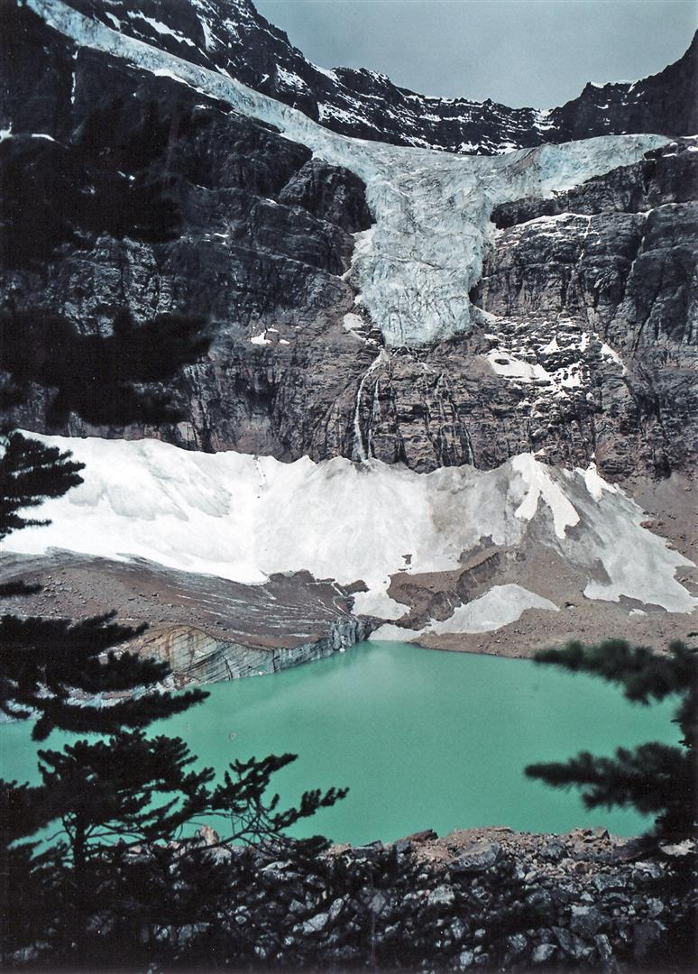 Hiking the Cavell Meadows Loop Trail: Angel Glacier hangs above Cavell Pond. Meltwater streaming off the glacier creates numerous waterfalls. Photo by Crista Worthy.