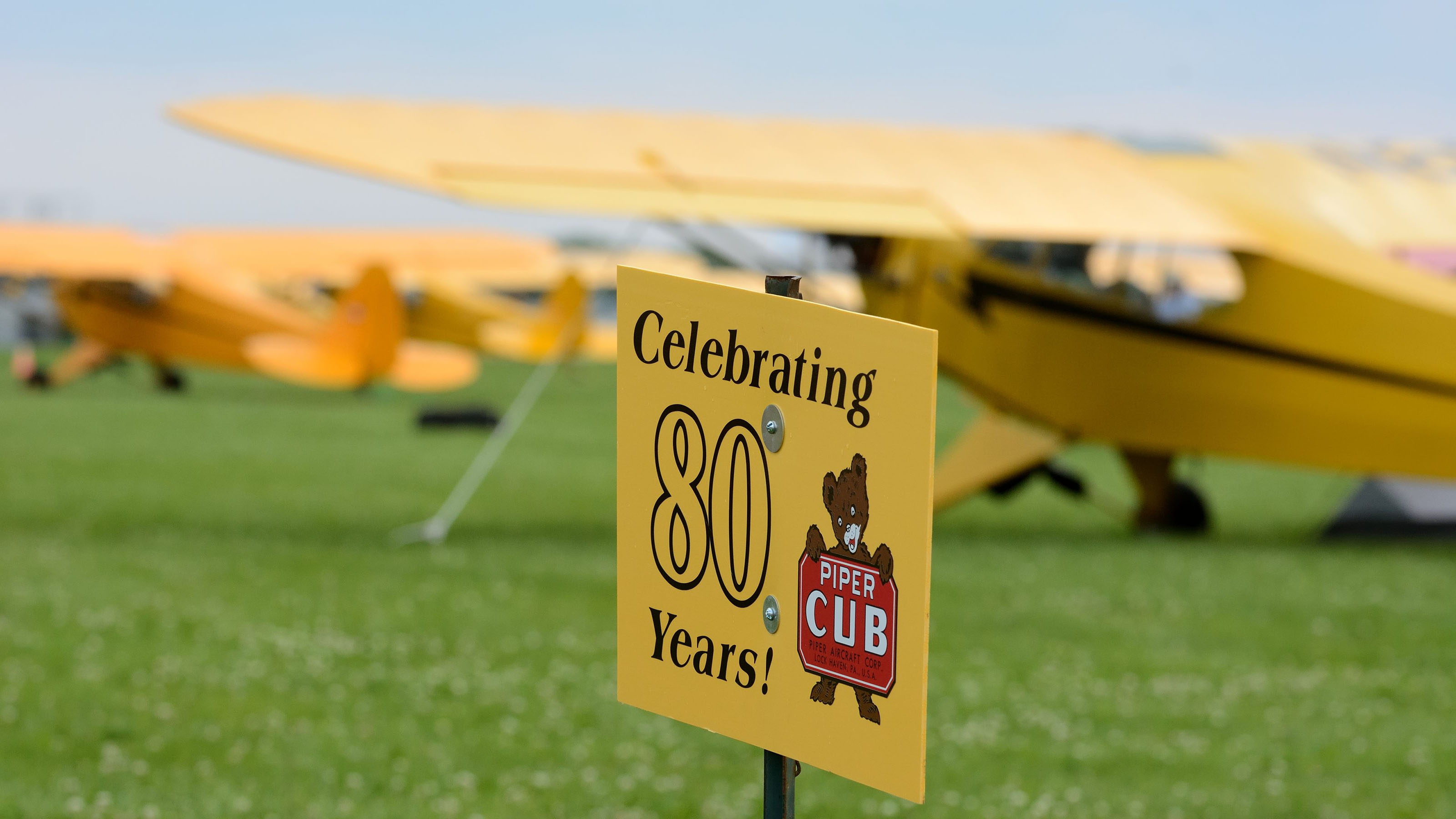 Special Cub-yellow signage greeted the Cubs 2 Oshkosh participants when they touched down early Sunday morning, July 23, at Wittman Regional Airport in Oshkosh.