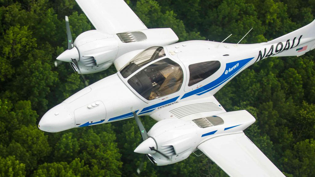 Aurora Flight Sciences turned the Diamond DA42 into an optionally piloted aircraft dubbed Centaur, with flight trials dating back to 2010 and a recent demonstration flight in May with Virginia Governor Terry McAuliffe on board. Photo courtesy of Aurora Flight Sciences.