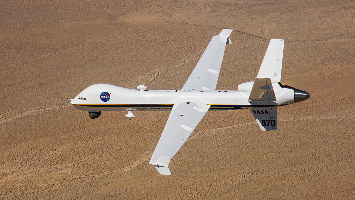 NASA used the Ikhana unmanned aircraft system, a research version of the General Atomics MQ-9 Predator B, to test and validate standards that will govern integration of this and similar unmanned aircraft into the National Airspace System. Photo courtesy of NASA.