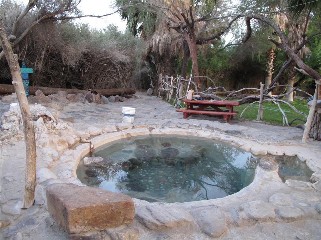 One of the clothing-optional hot springs just a short walk from the uncharted 1,350-foot Chicken Strip, which is at 36°48′24″N 117°46′54″W. The strip is operated by the National Park Service and maintained with help from Recreational Aviation Foundation (RAF) volunteers.