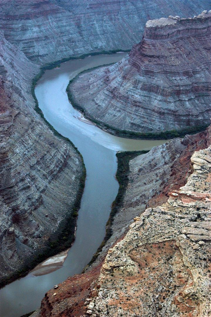 Aerial shot of the confluence of the Colorado and Green rivers, Islands in the Sky District, Canyonlands National Park. Photo by Crista Worthy.