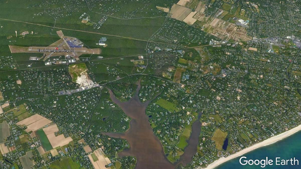 East Hampton Airport has long been the subject of acrimony over noise. Google Earth image.
