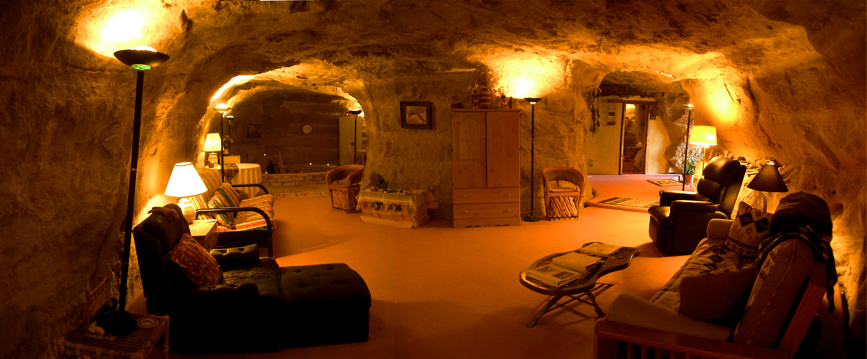 Panoramic view of the main rooms inside Kokopelli's Cave, carved into solid rock. Photo courtesy Kokopelli's Cave.