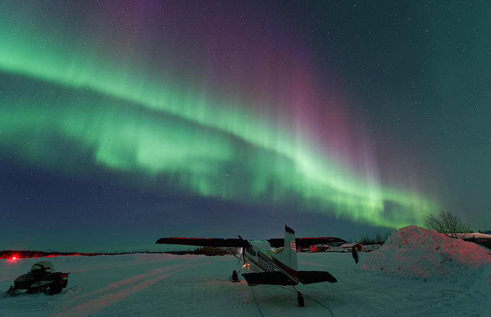 See the aurora borealis at the Bettles Lodge, north of the Arctic Circle and near Gates of the Arctic National Park, which is five times larger than Yellowstone. Photo courtesy Bettles Lodge.