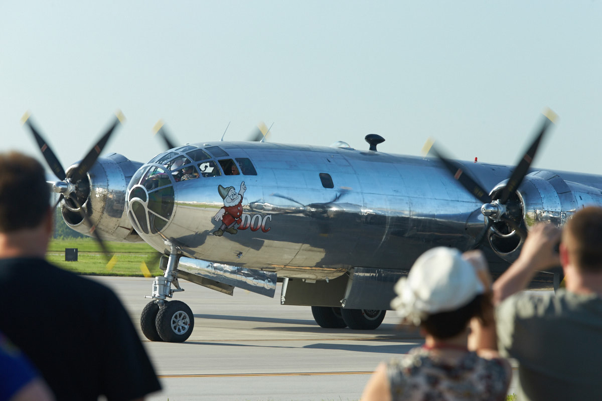 """Doc"" taxis past the crowd before its first flight after restoration in 2016. Mike Fizer photo."