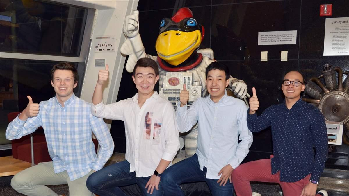 Iowa State aeronautical engineering students Jack Stanton, Lechen Wang, Koki Tomoeda, and Tho Ton are the sole U.S. entry in the Airbus worldwide Fly Your Ideas aviation innovation challenge. Photo courtesy of team CyFly.