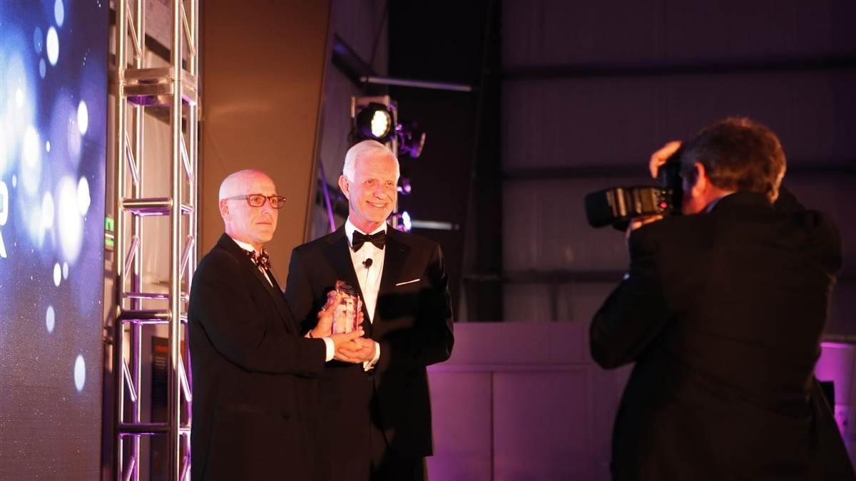 "Endeavor Awards founder Mark Wolper, and 2017 Inspiration Award recipient Capt. Chesley B. ""Sully"" Sullenberger. Photo by Chris Rose."