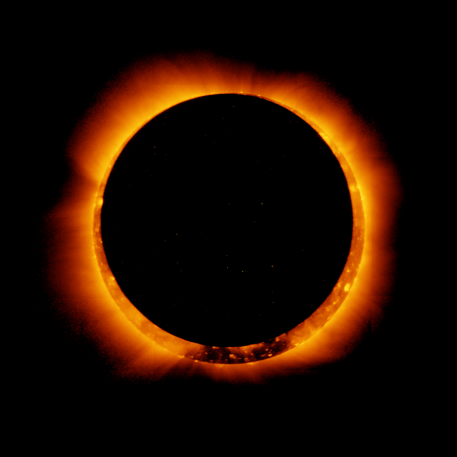 An annular, not total, solar eclipse as captured by the Hinode solar mission. Photo courtesy NASA Goddard Space Flight Center.