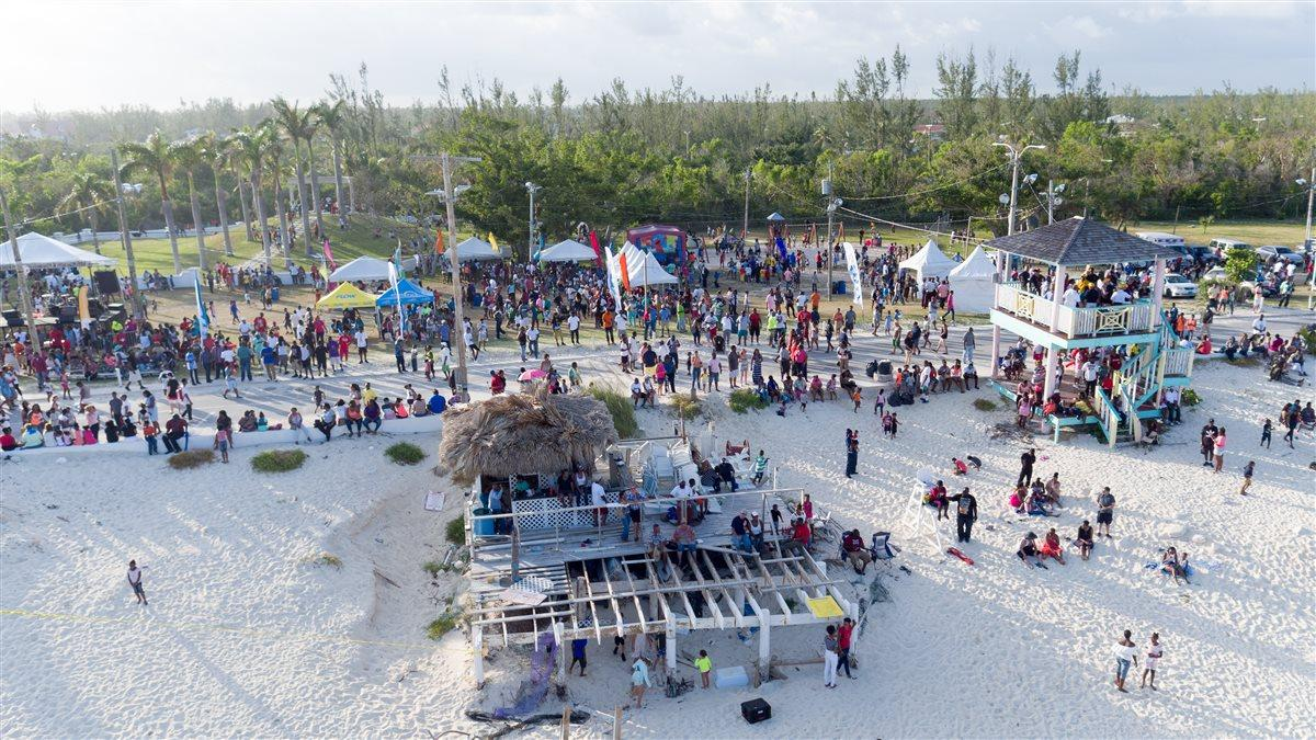 Aerial view of Taino Beach taken during a break in the aerial action during the Grand Bahama Air Show May 20.