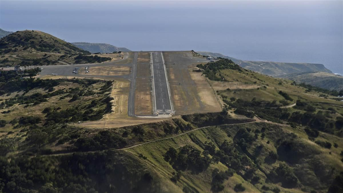 The approach to Catalina Island's Airport in the Sky requires a thorough checkout to master illusions leading to the 1,602-foot elevation clifftop airstrip. Photo by David Tulis.