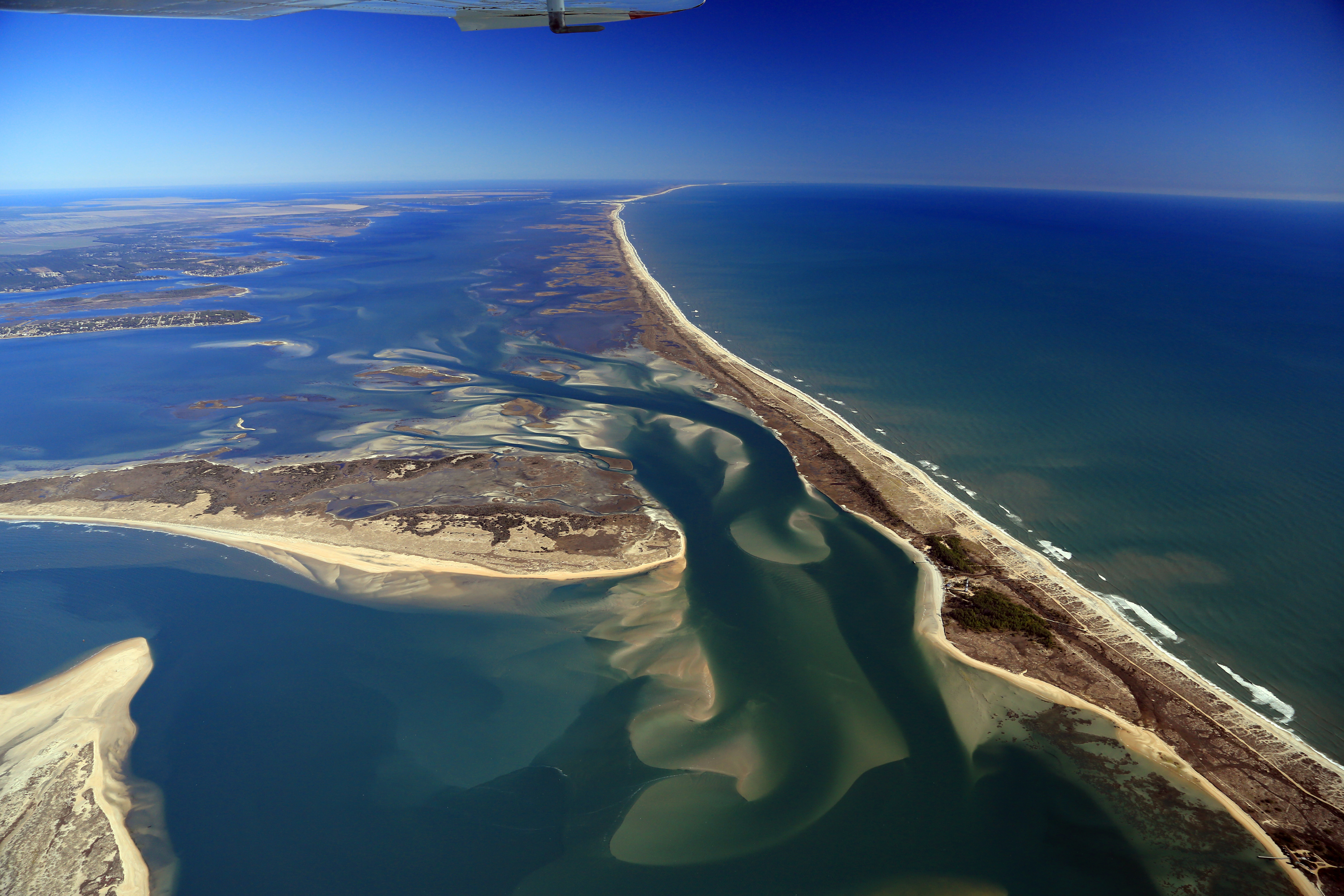 An aerial view toward the northeast from Cape Lookout toward Ocracoke. Photo by Richard H. Verdier.