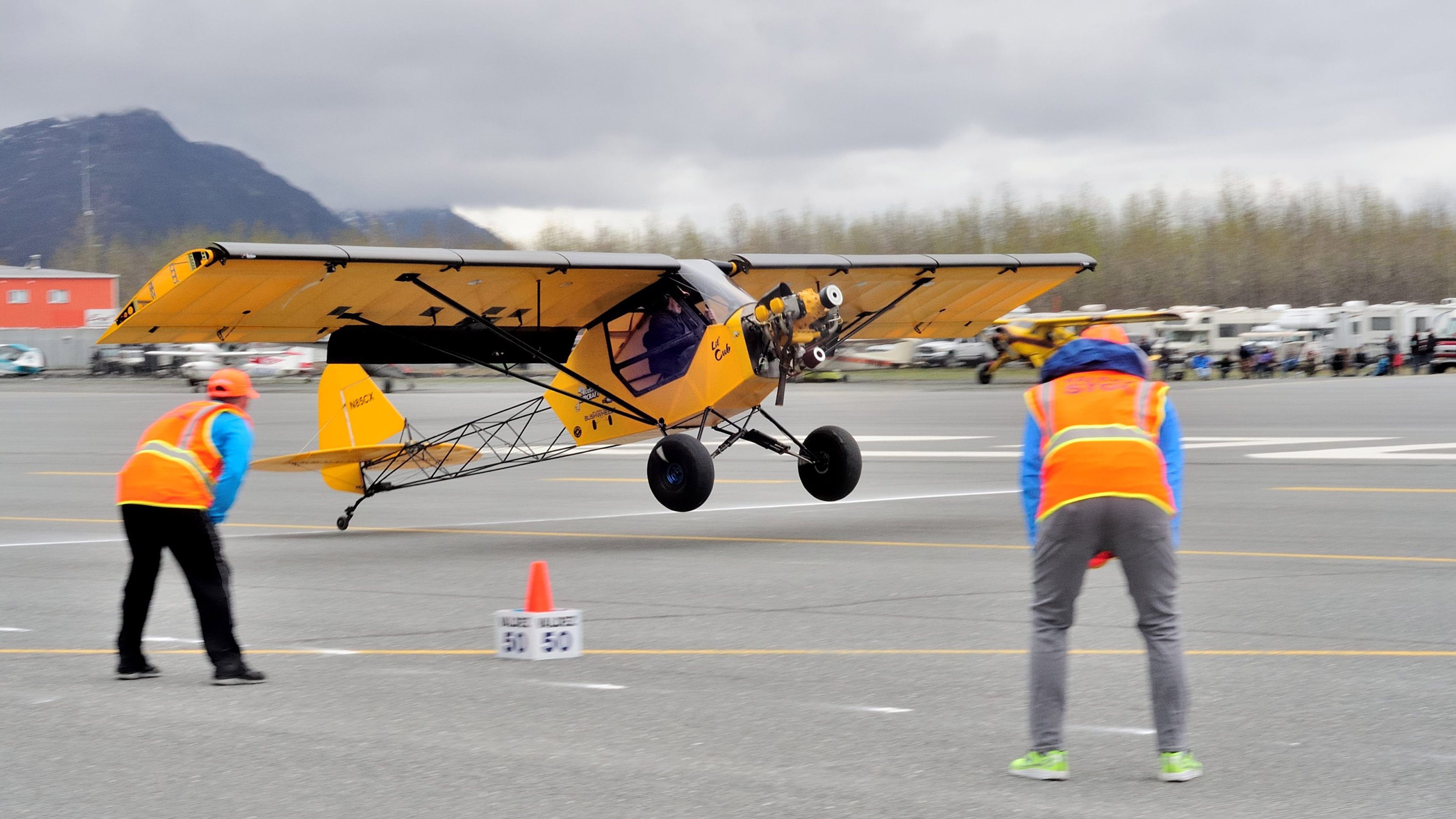 "Judges note where the wheels of Frank Knapp's ""Lil Cub"" left the ground. He took off in a distance of 14 feet, 7 inches at the 2017 Valdez Fly-In and STOL competition."