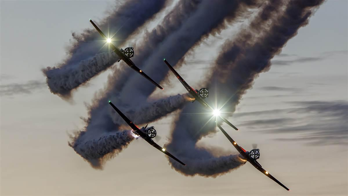The AeroShell Aerobatic Team has been a fixture on the airshow circuit for decades, known for precision formation flying with the North American AT-6 Texan. Photo by Ricardo von Puttkammer courtesy of AeroShell Aerobatic Team.