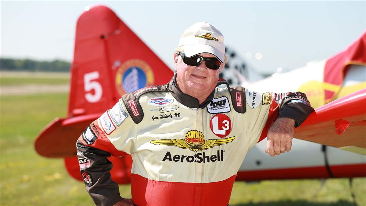 Gene McNeely has retired from airshow action after 24 years of performing with the AeroShell Aerobatic Team, part of an aviation career that also includes flying crop sprayers, cargo, and race airplanes. Photo courtesy of the AeroShell Aerobatic Team.