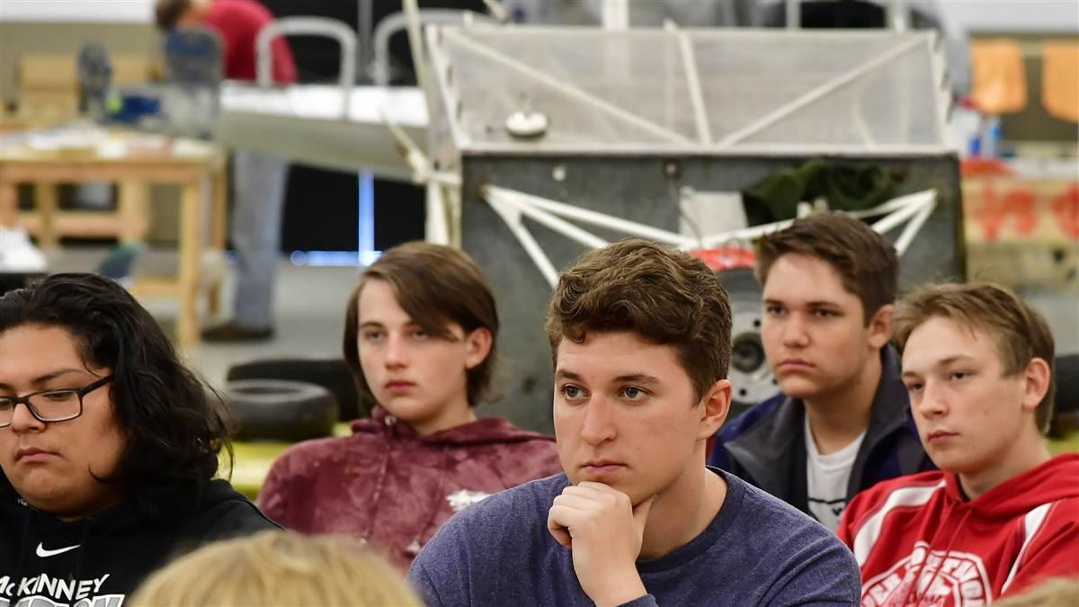 McKinney High School students learn about aviation concepts during class in a hangar at McKinney National Airport in McKinney, Texas, Nov. 8. Photo by David Tulis.