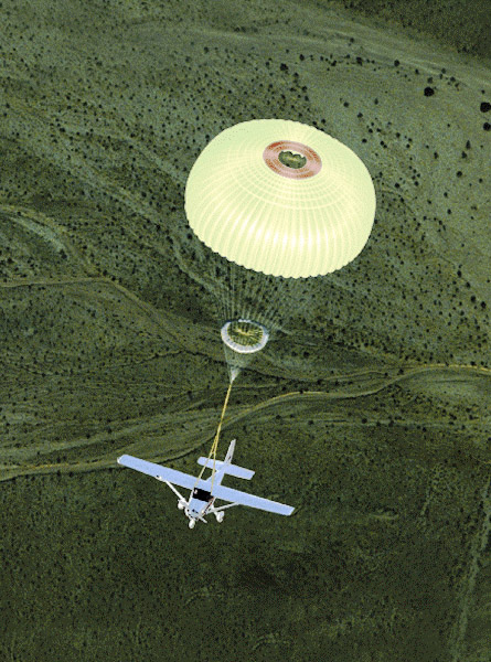 A BRS Aerospace whole aircraft parachute lowers a single-engine Cessna. Photo courtesy of BRS Aerospace.