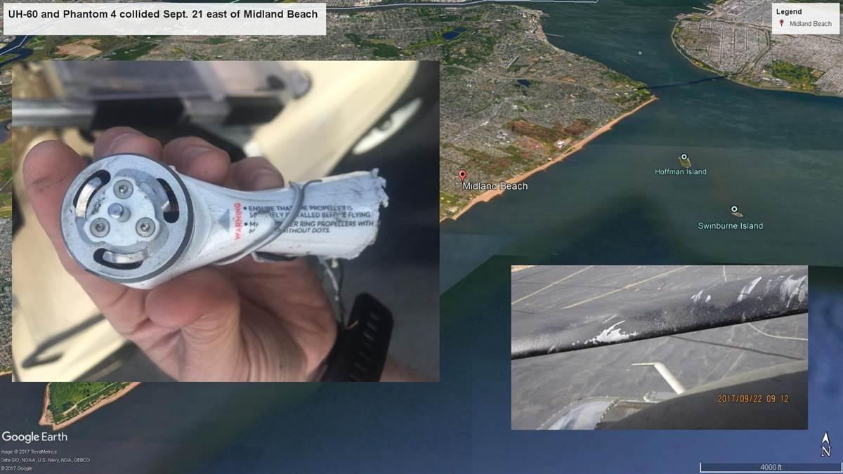 The NTSB is investigating the Sept. 21 collision of a DJI Phantom 4 quadcopter and a U.S. Army Black Hawk helicopter east of Midland Beach on Staten Island, New York. Google Earth base image with FAA photos overlaid.