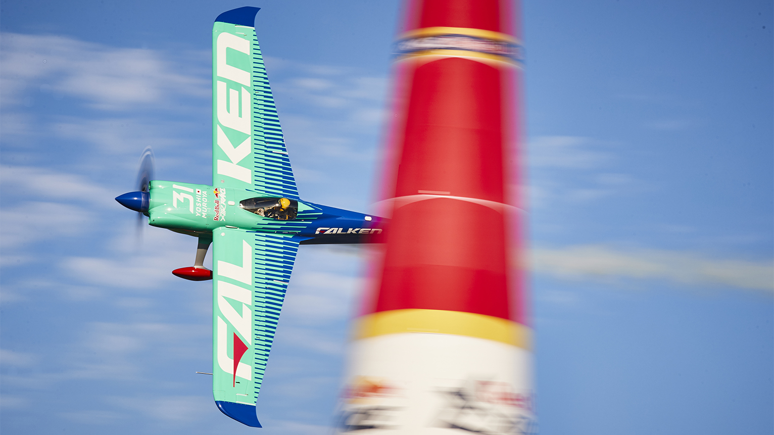 Yoshihide Muroya of Japan performs during qualifying day at the eighth round of the Red Bull Air Race World Championship at Indianapolis Motor Speedway. Photo by Andreas Langreiter / Red Bull Content Pool.